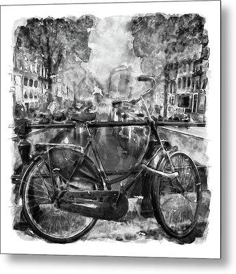 Amsterdam Bicycle Black And White Metal Print