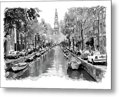 Amsterdam Canal 2 Black And White Metal Print