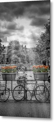 Amsterdam Gentlemen's Canal Upright Panoramic View Metal Print by Melanie Viola