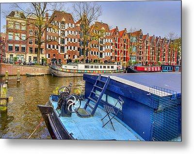 Amsterdam Houseboats Metal Print