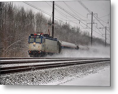 Amtrak In Snowstorm Metal Print