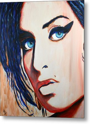 Metal Print featuring the painting Amy Winehouse Back To Blue by Bob Baker