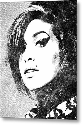 Amy Winehouse Bw Portrait Metal Print