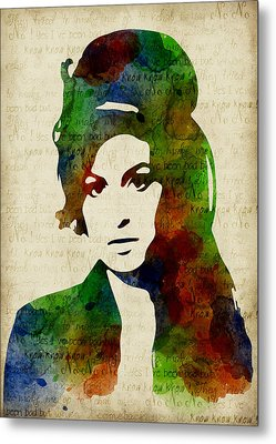 Amy Winehouse Watercolor Metal Print