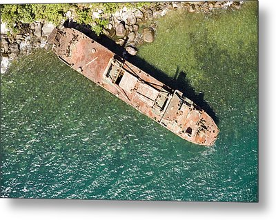 An Abandoned Cargo Ship On Nosy Mangabe Metal Print by Michael Fay