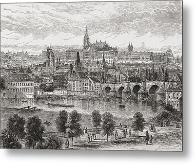 An Aerial View Of Prague, Czech Metal Print by Vintage Design Pics