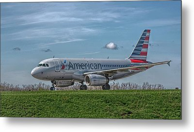 An Airbus A319 In Hdr Metal Print by Guy Whiteley