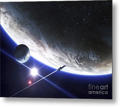 An Alien Patrol Zooms Metal Print by Kevin Lafin