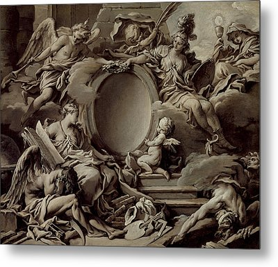 An Allegory Of Minerva Fame History And Faith Overcoming Ignorance And Time Metal Print by Francois Boucher
