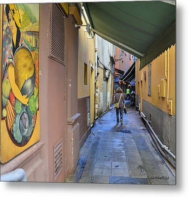 Metal Print featuring the photograph An Alley In Nice by Allen Sheffield