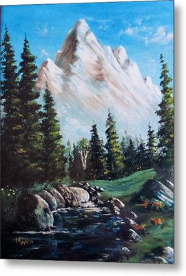 An Alpine Stream Metal Print