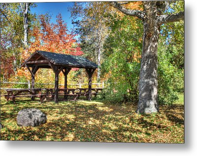 Metal Print featuring the photograph An Autumn Picnic In Maine by Shelley Neff