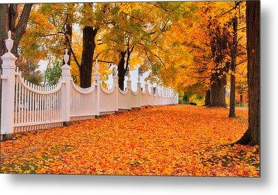 An Autumn Stroll - West Bennington Vermont Metal Print by Thomas Schoeller
