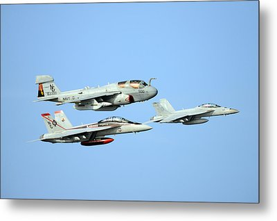 An Ea-6b Prowler And Two F A-18f Super Hornets Us Navy Metal Print by Celestial Images