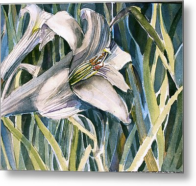 Metal Print featuring the painting An Easter Lily by Mindy Newman