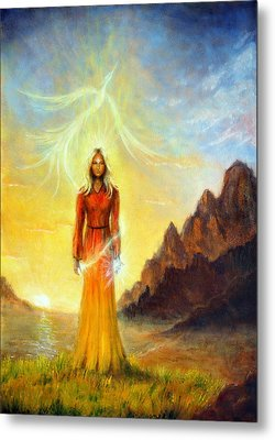 An Enchanting Mystical Priestess With A Sword Of Light In A Land Metal Print by Jozef Klopacka