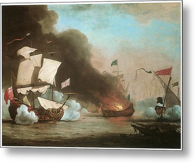 An English Ship In Action With Barbary Pirates Metal Print by Willem van de Velde the Younger
