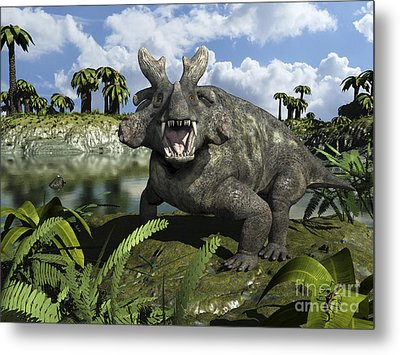 An Estemmenosuchus Mirabilis Stands Metal Print by Walter Myers