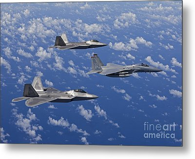 An F-15 Eagle And Two F-22 Raptors Fly Metal Print by HIGH-G Productions