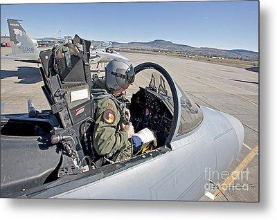 An F-15 Pilot Performs Preflight Checks Metal Print by HIGH-G Productions
