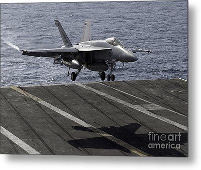 An Fa-18e Super Hornet Prepares To Land Metal Print by Stocktrek Images