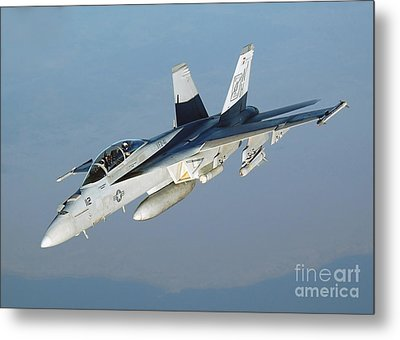An Fa-18f Super Hornet Conducts Metal Print by Stocktrek Images
