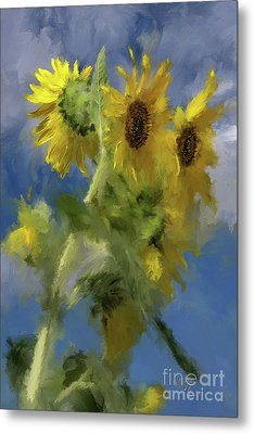 Metal Print featuring the photograph An Impression Of Sunflowers In The Sun by Lois Bryan