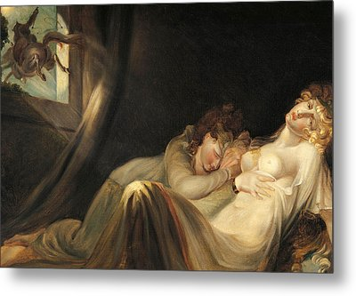 An Incubus Leaving Two Sleeping Girls Metal Print