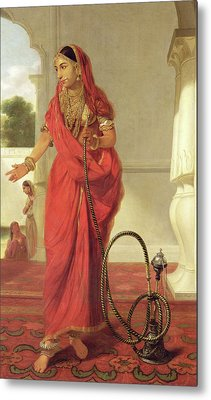 An Indian Dancing Girl With A Hookah Metal Print