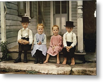 An Informal Group Portrait Of Amish Metal Print by J Baylor Roberts