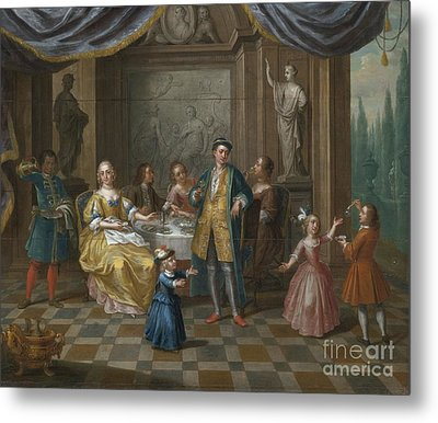 An Interior Scene With Figures Seated At A Table  Metal Print by Celestial Images