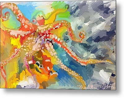 An Octopus Lunch Inspired This Painting Of An Octopus  Metal Print