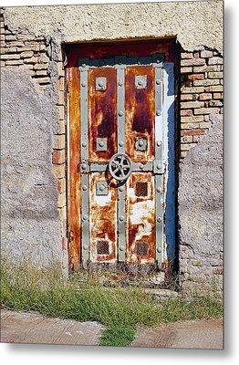 An Old Rusty Door In Katakolon Greece Metal Print by Richard Rosenshein
