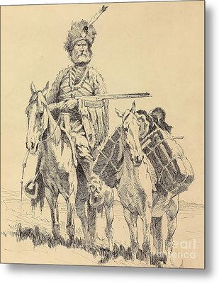 An Old Time Mountain Man With His Ponies Metal Print