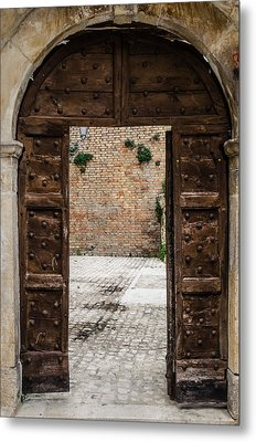 An Old Wooden Door 2 Metal Print by Andrea Mazzocchetti