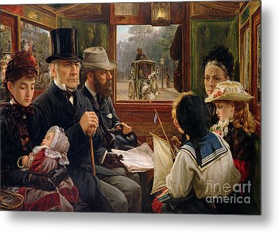 An Omnibus Ride To Piccadilly Circus, Mr Gladstone Travelling With Ordinary Passengers Metal Print by Alfred Morgan