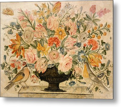 An Urn Containing Flowers On A Ledge Metal Print