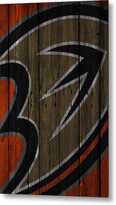 Anaheim Ducks Wood Fence Metal Print