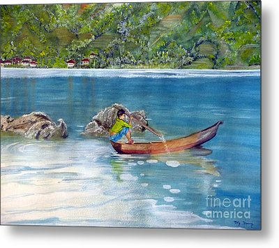 Metal Print featuring the painting Anak Dan Perahu by Melly Terpening