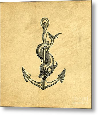 Metal Print featuring the drawing Anchor Vintage by Edward Fielding