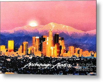 Anchorage - Bright-named Metal Print by Elaine Ossipov