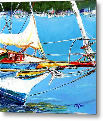 Anchored Metal Print by Marti Green
