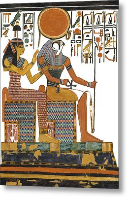 Ancient Egyptian Gods Hathor And Re Metal Print by Ben  Morales-Correa