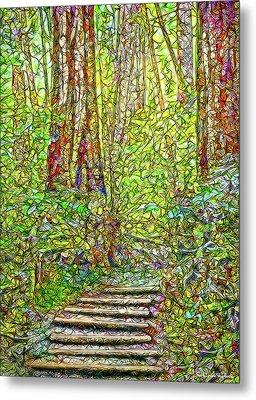 Metal Print featuring the digital art Ancient Forest Path - Tamalpais California by Joel Bruce Wallach