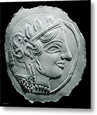 Metal Print featuring the relief Ancient Greek Relief Seal Drawing by Suhas Tavkar