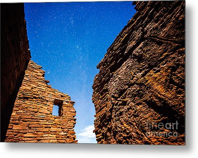 Ancient Native American Pueblo Ruins And Stars At Night Metal Print