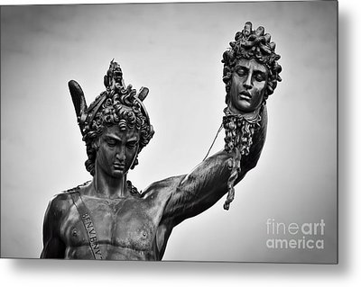 Ancient Style Sculpture Of Perseus With The Head Of Medusa In Loggia Dei Lanzi In Florence, Italy Metal Print by Michal Bednarek