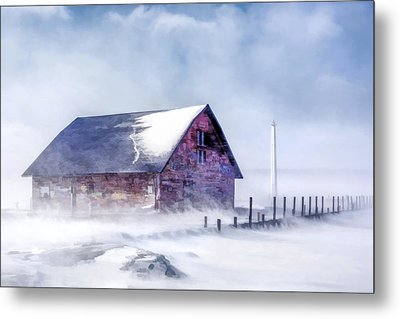 Metal Print featuring the painting Anderson Dock Winter Storm by Christopher Arndt