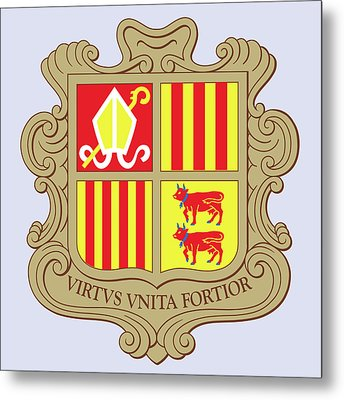 Metal Print featuring the drawing Andorra Coat Of Arms by Movie Poster Prints