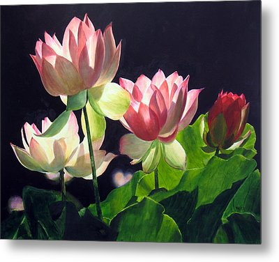 Metal Print featuring the painting Andrea's Lillies by Marina Petro